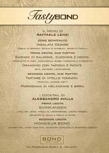 menu, chef, raffaele lenzi, tasty bond, navigli
